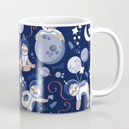 Best Space To Be // navy blue background indigo moons and cute astronauts sloths Coffee Mug
