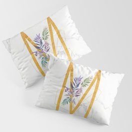 Modern glamorous personalized gold initial letter M, Custom initial name monogram gold alphabet prin Pillow Sham