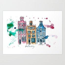 Amsterdam canal houses watercolor artwork Art Print