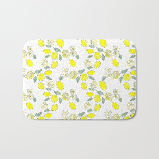 Watercolor . Lemon . Bath Mat