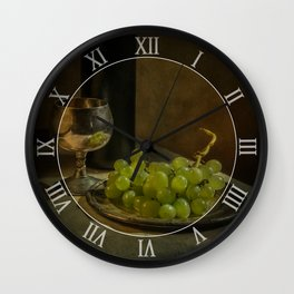 Still life with wine and green grapes Wall Clock
