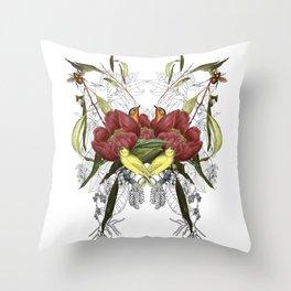 Birds in flowers Throw Pillow