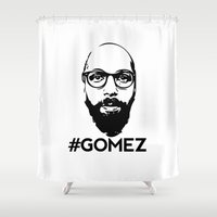 selena gomez Shower Curtains featuring Gomez - Black by Dominic DiMaria