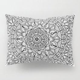 Circle of Life Mandala Black and White Pillow Sham