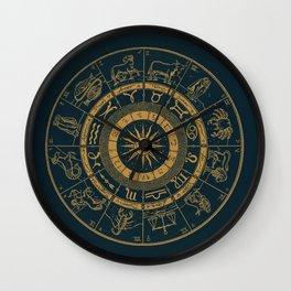Vintage Zodiac & Astrology Chart | Royal Blue & Gold Wall Clock
