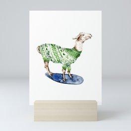 Llama in a Green Deer Sweater Mini Art Print