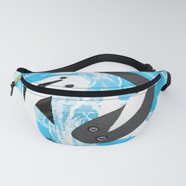 Yin and yang black and white fish Fanny Pack