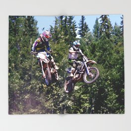 Closing In - Motocross Racers Throw Blanket
