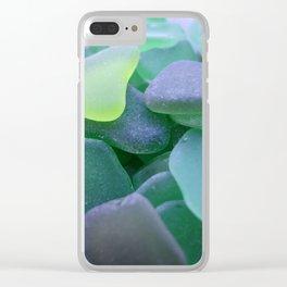 Beach Glass, dark green Clear iPhone Case