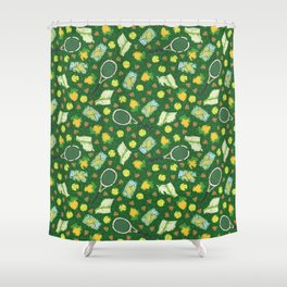 Yellow lemon and ball among tennis rackets and strawberries Shower Curtain