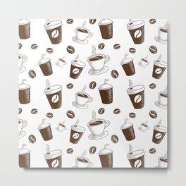 Modern Coffee Patern Metal Print