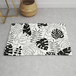 black and white tropical minimal leaves poster Rug