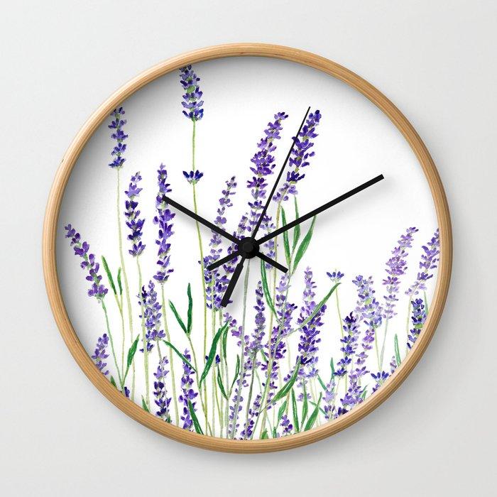 lavender watercolor horizontal Wall Clock