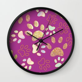 Golden Shining Paw Prints and Spectrum Colored Paw Prints Wall Clock