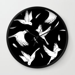 Little Birds Black and White Pattern Wall Clock