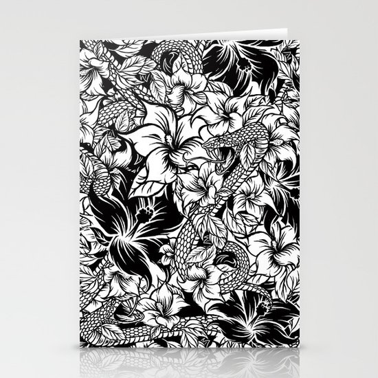 Snaky Fleur, Black 'n White Stationery Cards
