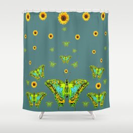BLUE-GREEN-YELLOW PATTERNED MOTHS YELLOW SUNFLOWERS Shower Curtain