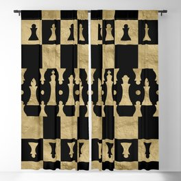 Chess Pieces Pattern - black and gold Blackout Curtain