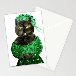 Cat in green dress Stationery Cards