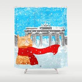 Berlin Snowcat Shower Curtain