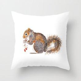 Berries Squirrel Throw Pillow