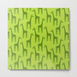 Giraffes-Green Metal Print