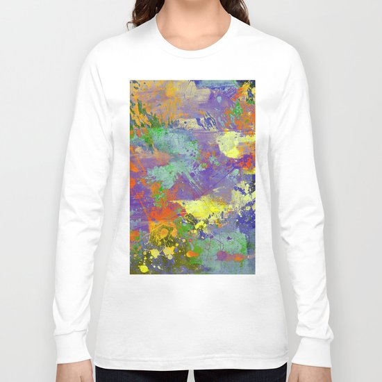 Signs Of Life - Vibrant, random paint splatter multi coloured abstract Long Sleeve T-shirt
