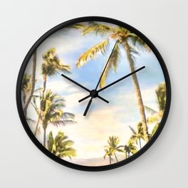 Vintage Hawaiian Beach, Mauna Lani Bay, Blue Wall Clock