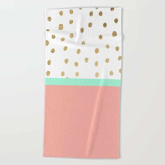 Coral teal color block faux gold foil polka dots pattern  Beach Towel
