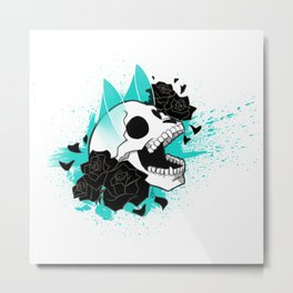 Skull 'n' Roses (ScribbleNetty-Colored) Metal Print