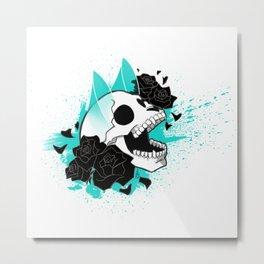 Skull 'n' Roses (ScribbleNetty-Colored) Metal Print