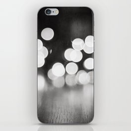 Black and White Sparkle Lights Photography, Neutral Bokeh Sparkly Photograph iPhone Skin