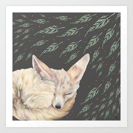 Fennec Fox Feather Dreams in Green & Grey Art Print