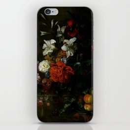 """Ernest Stuven """"Poppies, lilies, roses and other flowers in a glass vase on a draped marble ledge"""" iPhone Skin"""