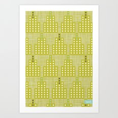 Art Deco Towers Chartreuse Art Print