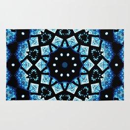 Blue Black Mosaic Kaleidoscope Mandala Rug