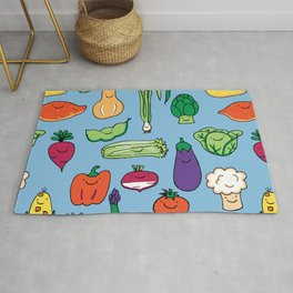 Cute Smiling Happy Veggies on blue background Rug