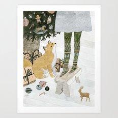 Christmas tree decorating Art Print
