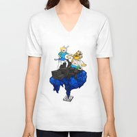 finn and jake V-neck T-shirts featuring FINN, JAKE, FIONNA & CAKE by Echo Faust