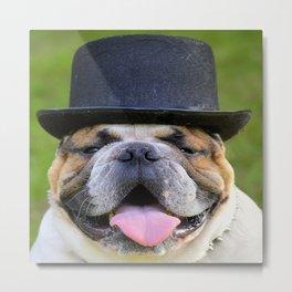 Silly Bulldog In Top Hat Metal Print