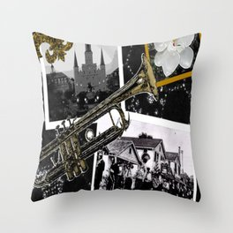 Classic New Orleans Black & white vintage collage Throw Pillow