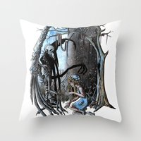 nightmare Throw Pillows featuring Nightmare by Ju.jo.weh