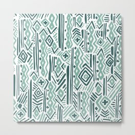 Abstract mauve green teal white tribal pattern Metal Print