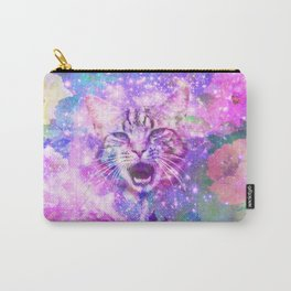 Space Cat | Girly Kitten Cat Romantic Floral Pink Nebula Space Carry-All Pouch