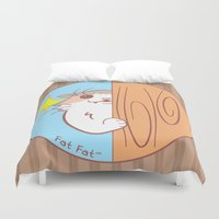 fat Duvet Covers featuring Fat Fat Peeks by Fat Fat