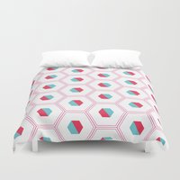 hexagon Duvet Covers featuring Hexagon Pattern by C Designz
