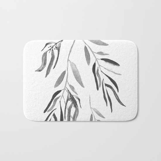 Eucalyptus Branches II Black And White Bath Mat