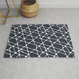 Dark Blue & White Abstract Mosaic Pattern 2 Pairs To 2020 Color of the Year Classic Navy Blue Rug