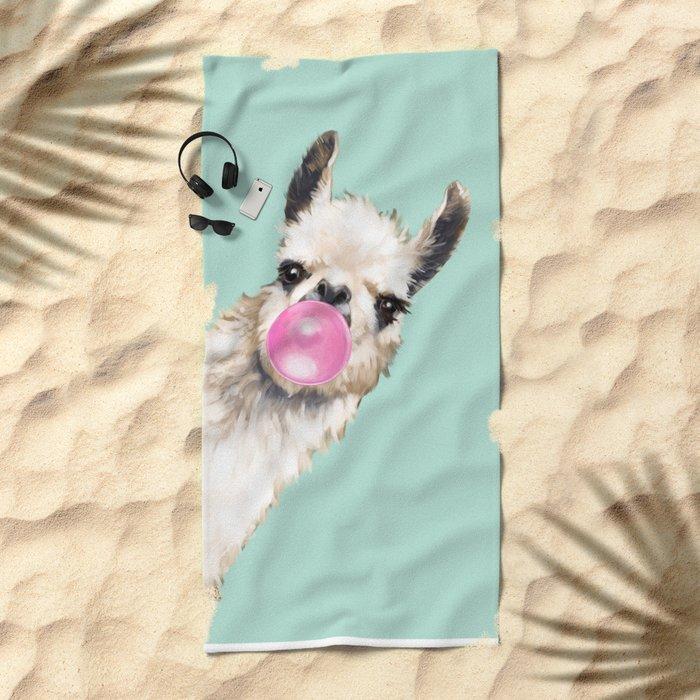 Bubble Gum Sneaky Llama in Green Beach Towel