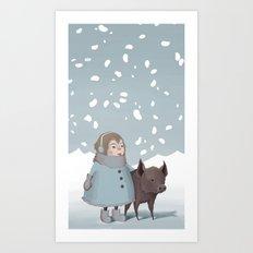 Pig in snow Art Print